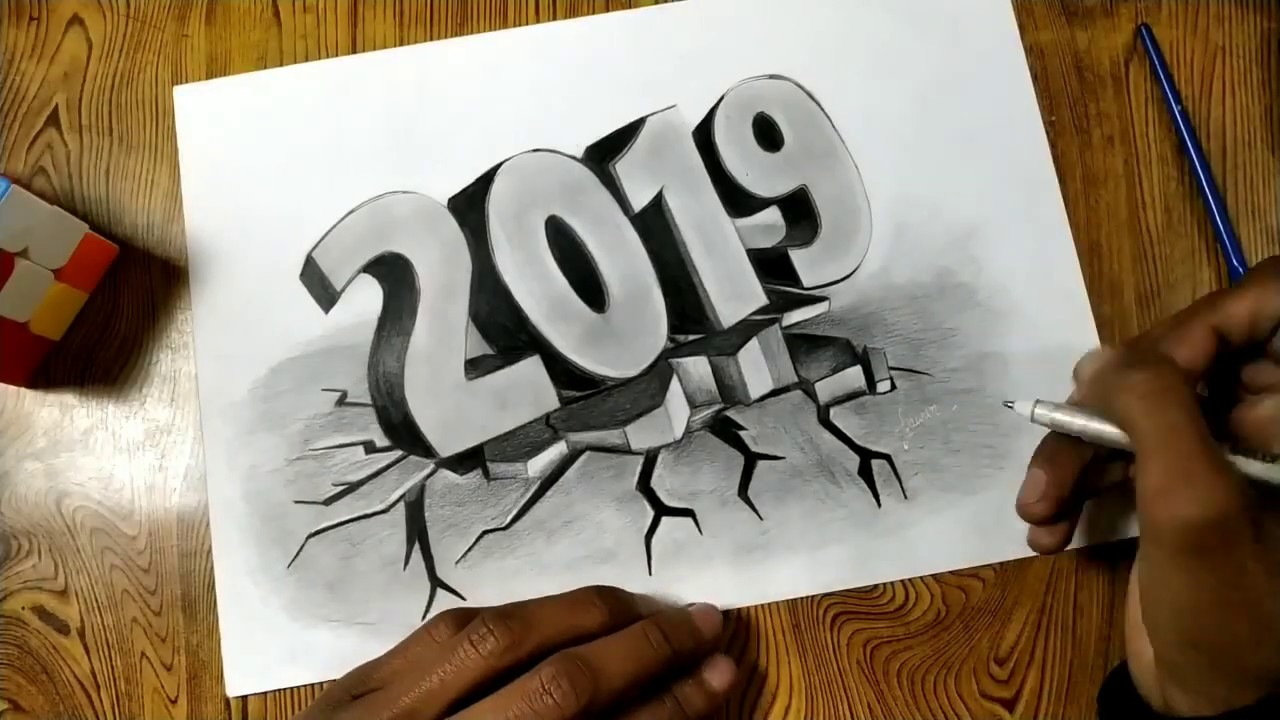 Happy new year 2019 - drawing 3d letters - craked wall ...