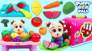 Disney Jr Puppy Dog Pals Keia Eats Toy Velcro Cutting Fruits and Vegetables!