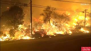 Live video: Devastating wildfire sweeps into Ventura, burning homes, at least one dead