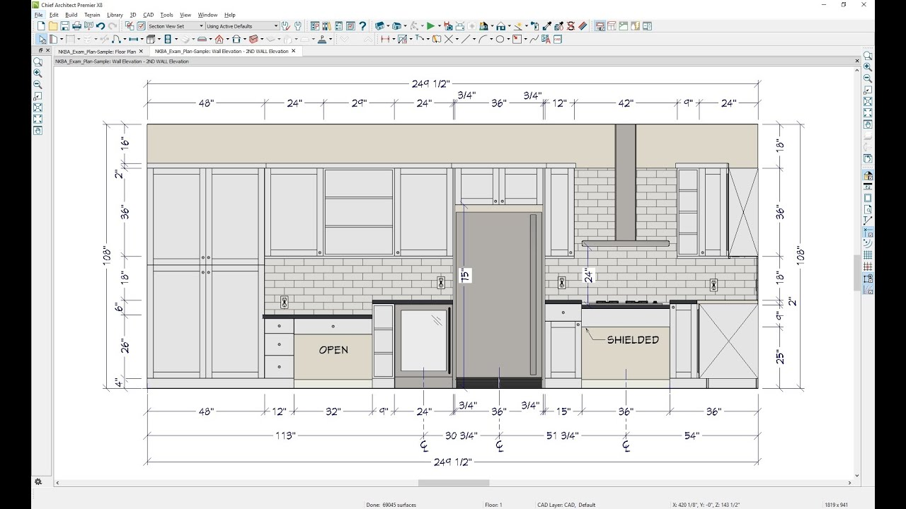Kitchen Plan Elevation View : Creating a kitchen floor plan and the second wall