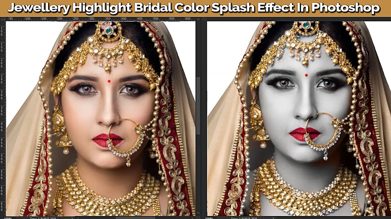 jewellery highlight | bridal makeup | color splash effect in photoshop