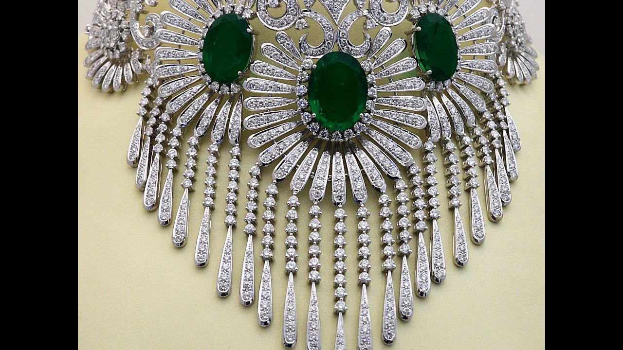 Latest Indian Gold And Diamond Broad Necklace Set Indian