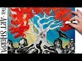 Q Tip Painting Acrylic Painting Weirwood Tree  #WinterIsHere Fire and Ice