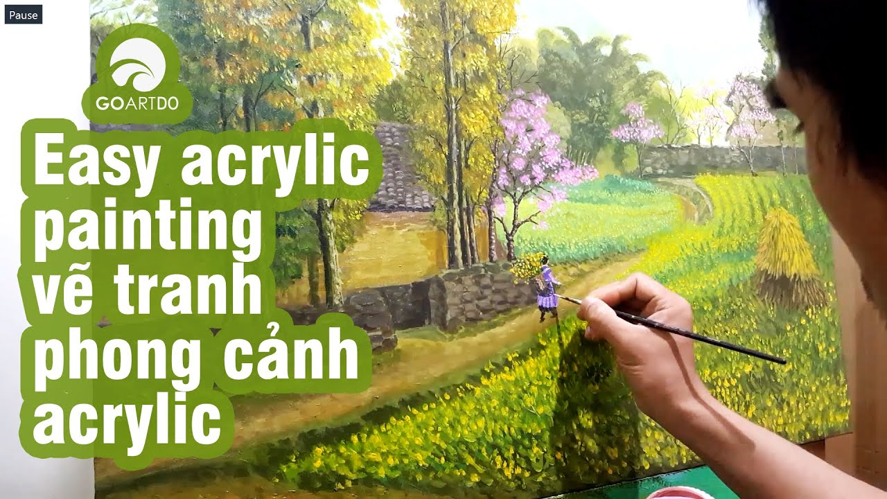 Cách vẽ tranh phong cảnh với gam màu cực đẹp với sơn acrylic