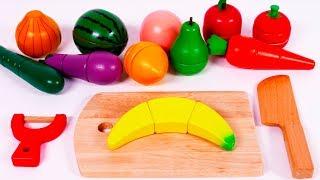 Uczymy kolory z Cięciem owoców i warzyw zestaw dla Dzieci po angielsku