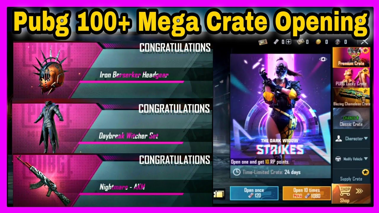 PUBG 100+ PREMIUM, CLASSIC AND SUPPLY CRATE OPENING IN TAMIL| THE DARK WIDOW STRIKES CRATE OPENING|