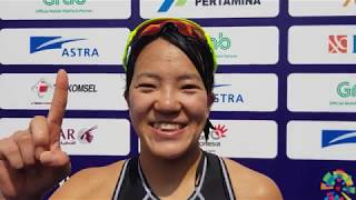 Yuko Takahashi claims the gold medal at the 18th Asian Games