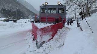 大雪でラッセル車稼働! 会津鉄道の湯野上温泉駅