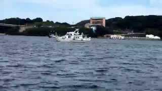 佐賀県名護屋港。瀬渡し船、飛鳥