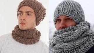 Мужские шапки из толстой пряжи - идеи из интернета Часть 1