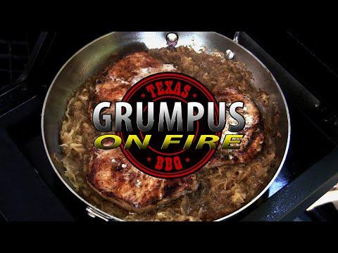 Week Night Dinner With Grumpus - Pork Chops And Sauerkraut