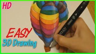 3D ART : How to Draw Air Balloon [HD]