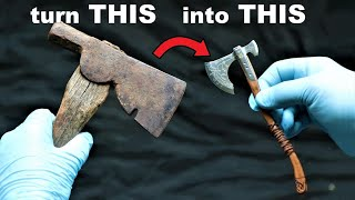 I turn a Rusty Hatchet into a Beautiful little Battle Axe