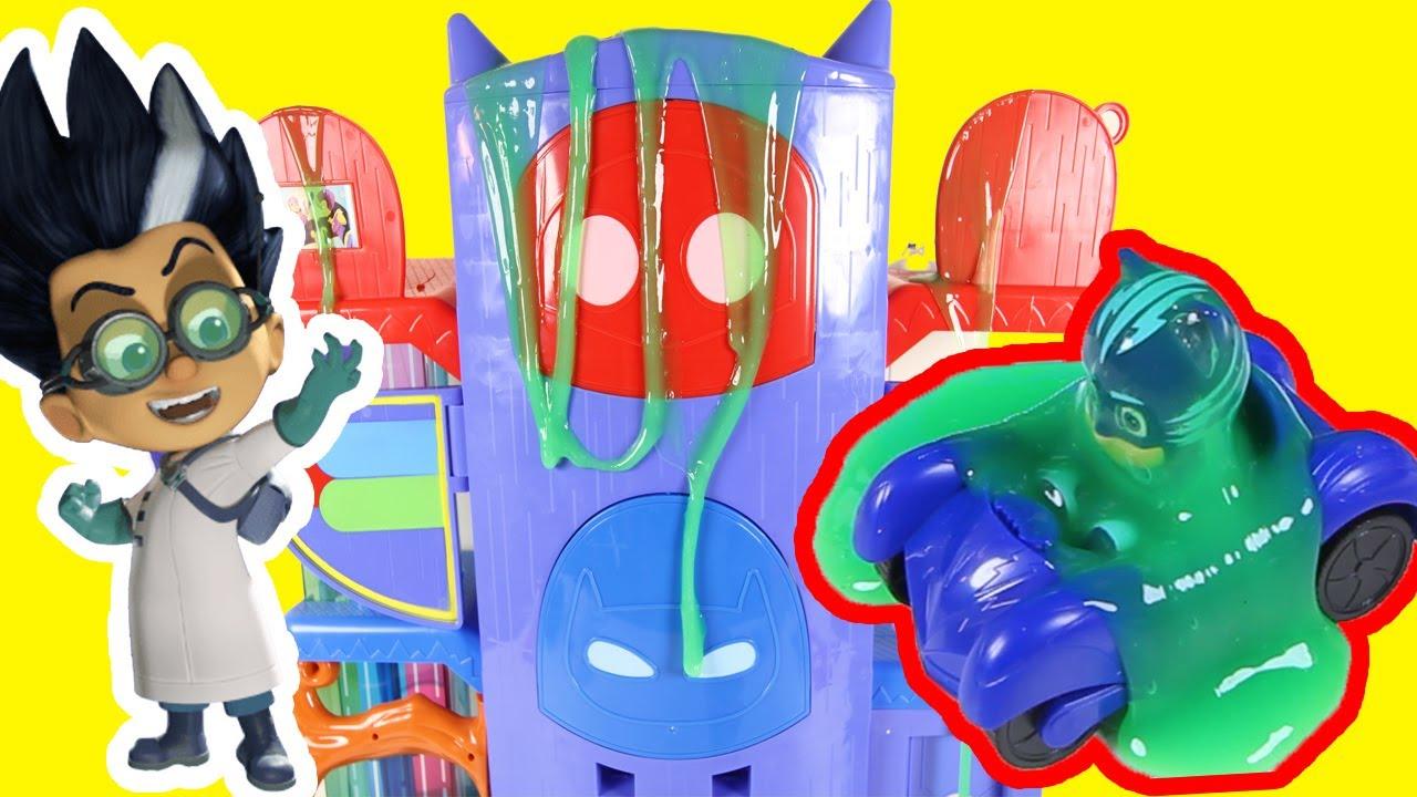 Download PJ Masks Night Time Romeo Slimes Catboy Owlette Headquarters Playset   Paw Patrol Toys