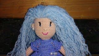 Кукла+как сделать волосы кукле.Волосы из пряжи-видео мастер класс