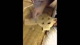 Carving Celtic Cross