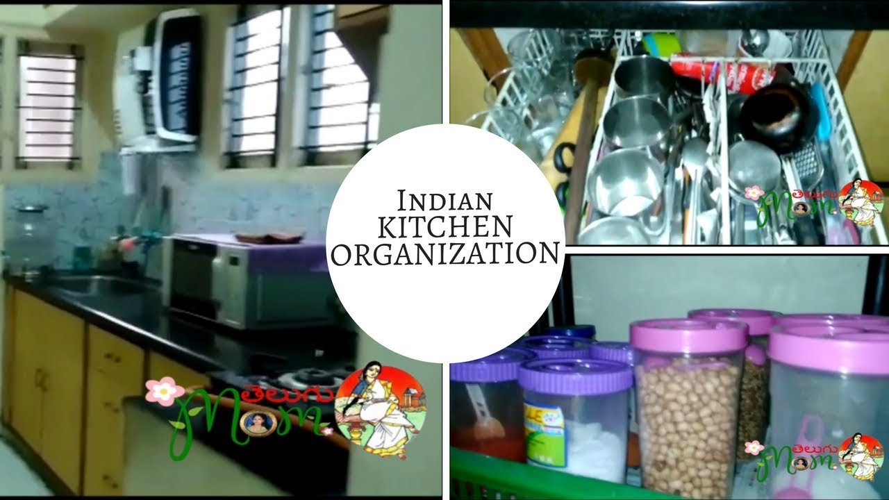 Kitchen Tour In Telugu | Small Indian Kitchen Tour & Organization By ...