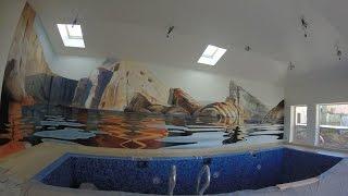 художественная роспись стен в бассейне,аэрография,мастер класс,