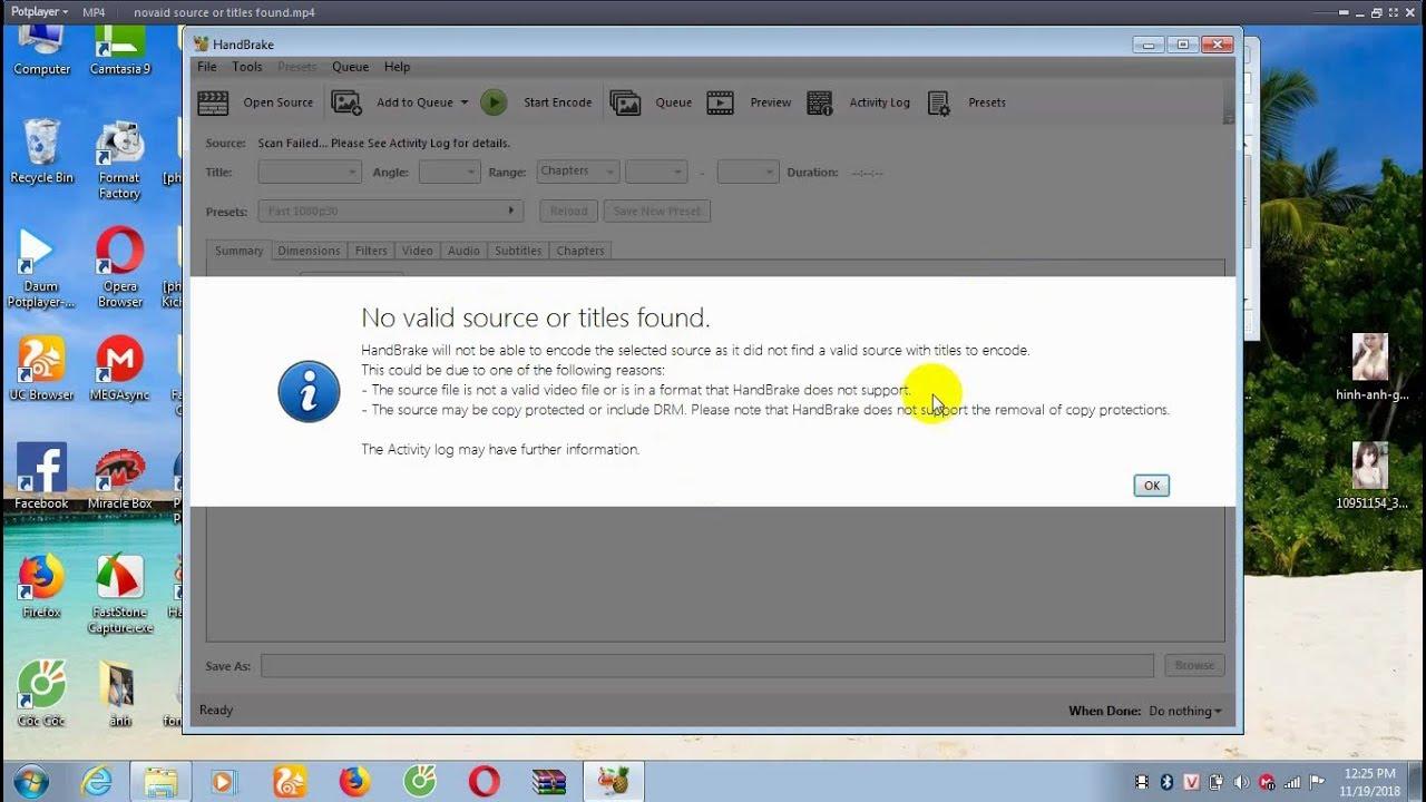 Handbrake no valid source found macbook