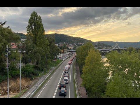 Caravanas en las salidas de Ourense el primer fin de semana de cierre
