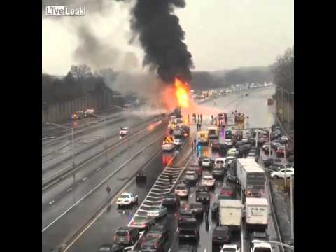 A fuel truck explosion near Union Township, NJ
