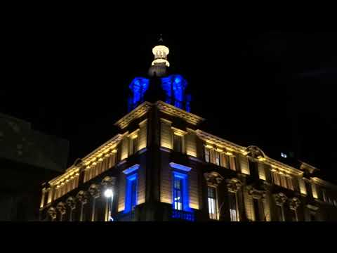 Celebration Of Robert Burns Council Offices At Night In Perth Perthshire Scotland