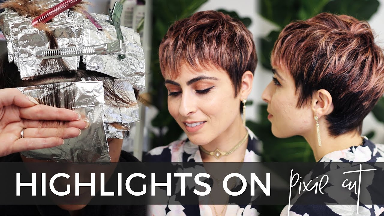How To Do Highlights On A Short Pixie Haircut Easy Technique With Bonus Rose Gold Color Formula Youtube