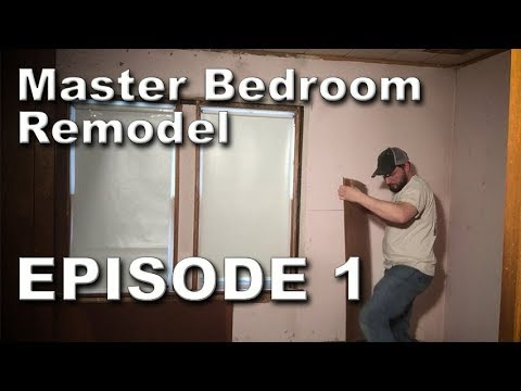 Removing Wood Paneling and Tile Ceiling - Master Bedroom Remodel - Episode 1