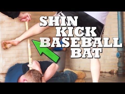 Shane Fazen Breaks a Baseball Bat with Shin Kick