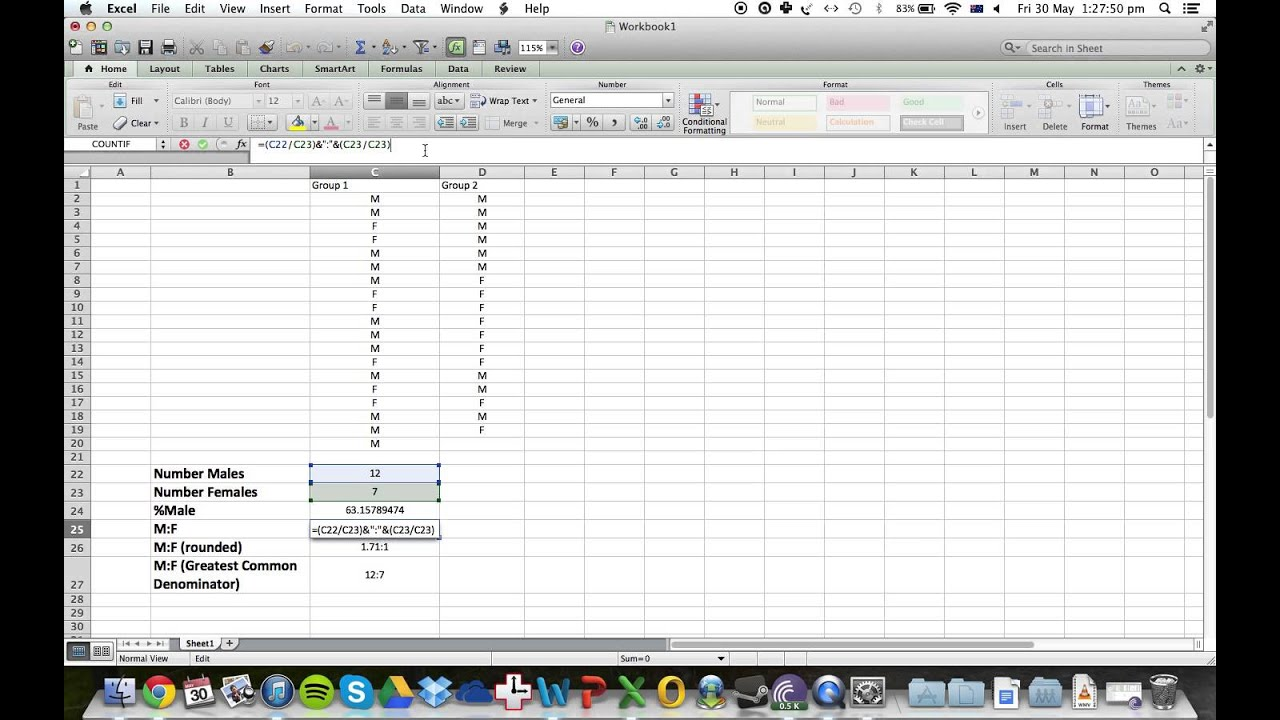Microsoft Excel: How To Count Male And Female, Male:female Ratios  (including Rounding)