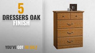 Top 10 Dressers Oak Finish [2018]: Sauder Orchard Hills 4-Drawer Chest, Carolina Oak Finish