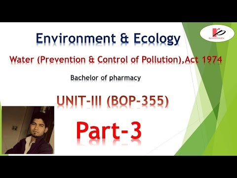 Part -3 Water (Prevention & Control of pollution) | Rashid Pharma