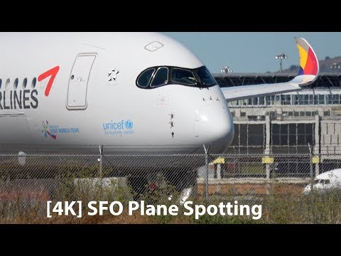 [4K] Plane Spotting at San Francisco Airport SFO Series 2 - A350, A380, 777, 747 and more