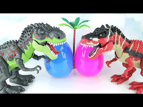 Thumbnail: Two T-Rex Born In a Dinosaur Eggs. Learn Names of Dinosaur With Eggs, Tayo, Spider, Monster Toys~