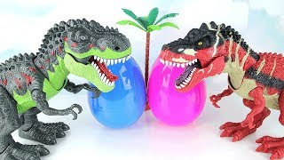 Two T-Rex Born In a Dinosaur Eggs. Learn Names of Dinosaur With Eggs, Tayo, Spider, Monster Toys~