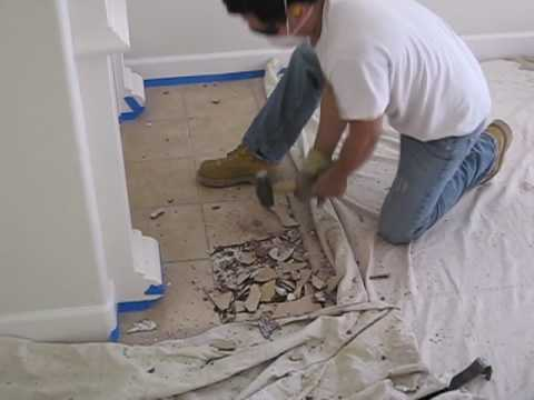 preparing for new tile floors - 09 remove fireplace tile - YouTube