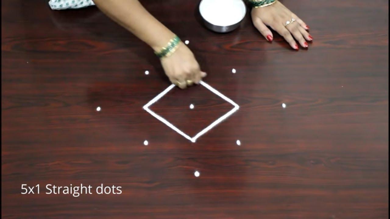 Traditional 5 dots Indian Art rangoli & kolam designs - रंगोली - ரங்கோலி