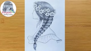 How to draw a girl with beautiful hairstyle for beginners || Beautiful Braid Hair Girl