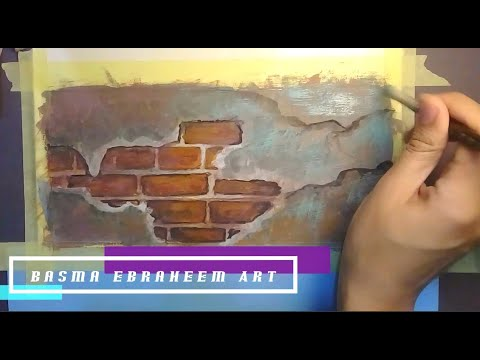 Cracked wall. Gouache painting tutorial