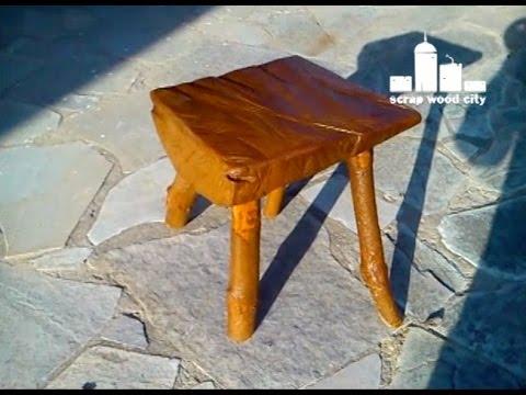 DIY log stool made of  fire wood