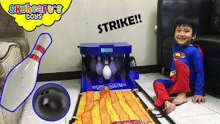 Superheroes Bowling in Real Life! Playtime with Marvel and Justice League Bowling toys for kids