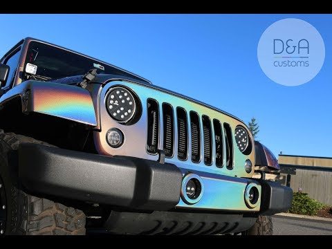 Vvivid Rose Gold wrap removal and 3M Psychedelic wrap installation on 2016 JeepWrangler