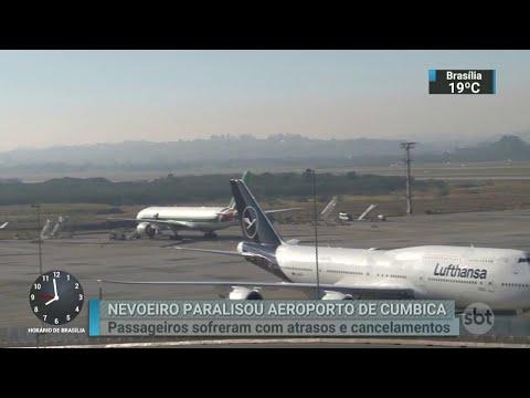 Nevoeiro provoca cancelamento de voos em aeroporto de São Paulo   SBT Brasil (22/05/18)