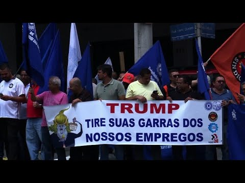 Brazilians protest against Trump's import surcharge on steel