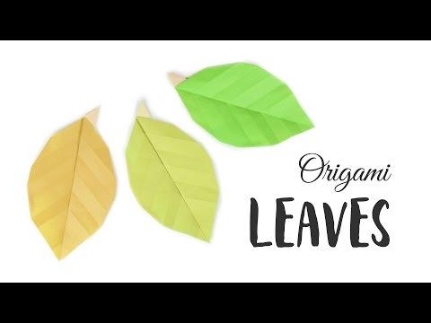 Easy Origami Leaf Tutorial - DIY - Paper Kawaii