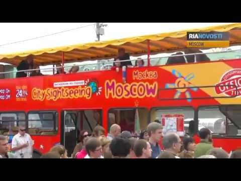 Double-Decker Buses Wheel about Moscow