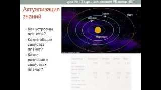 Астрономия. Урок №13. (Демо-обзор) Учитель Чигарёв Д.Л. Планеты земной группы