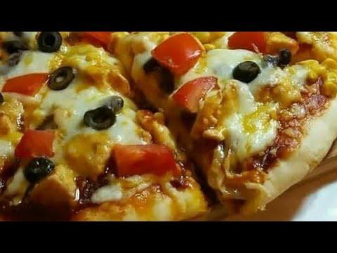 صورة  طريقة عمل البيتزا بيتزا المطاعم بشاورما الفراخ وسرصلصه البيتزا الجميله اوي طريقة عمل البيتزا من يوتيوب