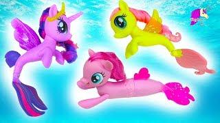 My Little Pony Mermaids Swim In Water With Barbie - MLP Seapony Movie Toys