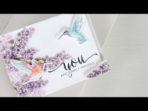 Watercolor Stamping: Hummingbirds